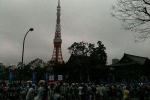 Tokyo Tower looming overhead