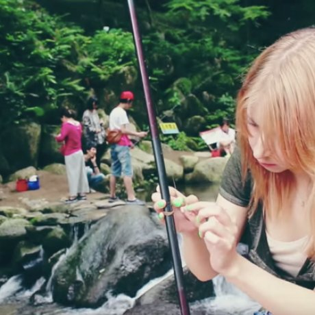Fishing at a Waterfall in Itoshima, Fukuoka