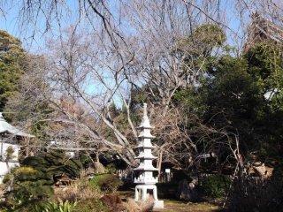 본당 옆 정원에 있는 전등과 탑