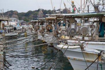 Fishing boats in port, right next to the kakigoya