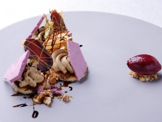Opera Cake with Cassis Sorbet
