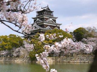 Hiroshima-jo (le château de Hiroshima) entouré de fleurs derrière les douves