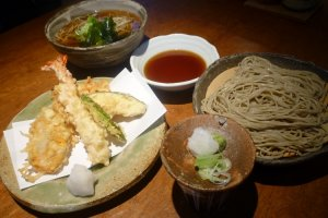 Lunch, 2 types of soba and a tempura dish