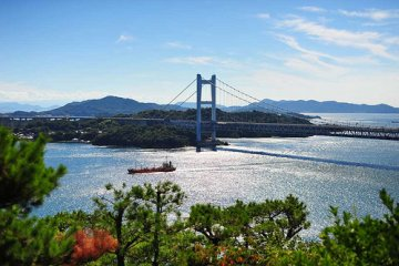 view of bridge from the main island of Honshu