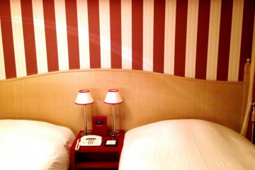 Playful Candy Striped Guest Rooms is funky and delightful in an quaint English manner at Hotel Monterey Kyoto