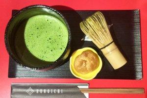 Matcha green tea elegantly presented