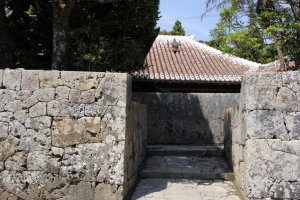 The stone entry way to the Nakamura House as seen from outside the compound.