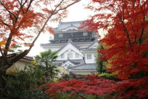 Okazaki Castle is surrounded by a beautiful garden and moat, making it a picturesque location