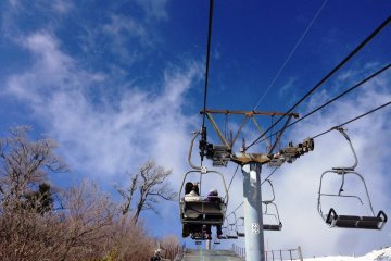 Enjoy the scenic views on the chair lift which takes you from the car park to the top of the resort above the snow line