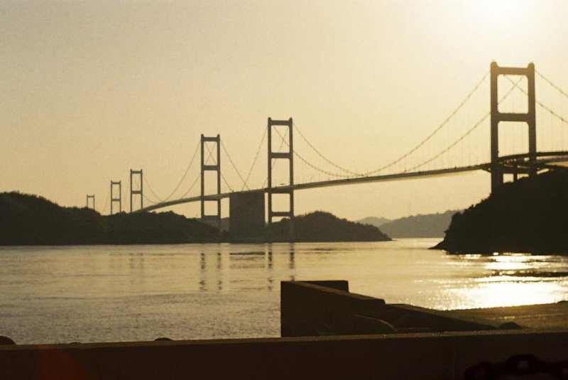 The final and most impressive bridge of the trip at sunset