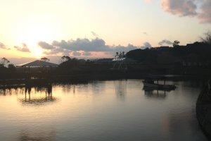 View over the lake of Goshiki Wellness Park