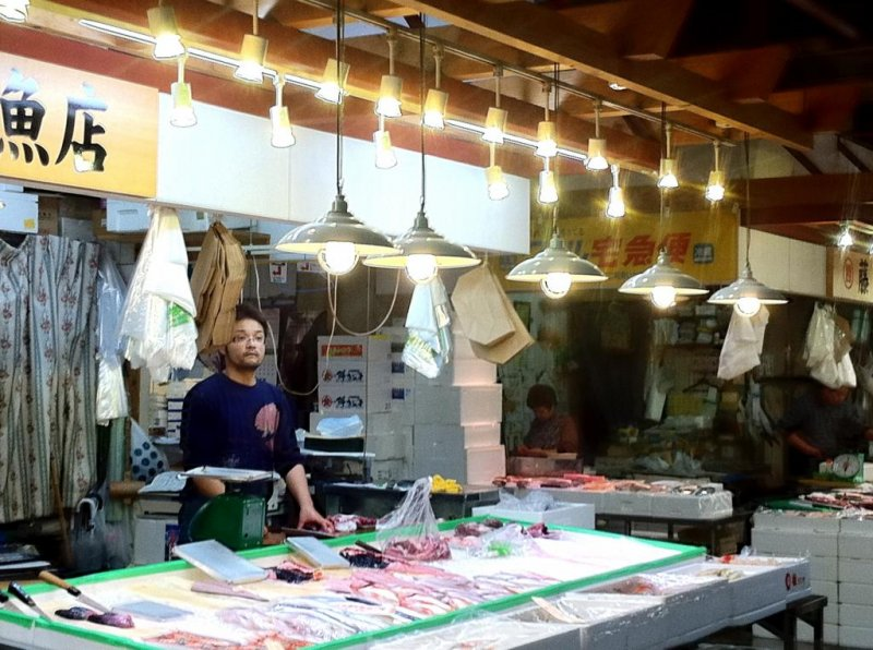 Fishmonger at the Akita Citizen Market one of the largest north of Tsukiji