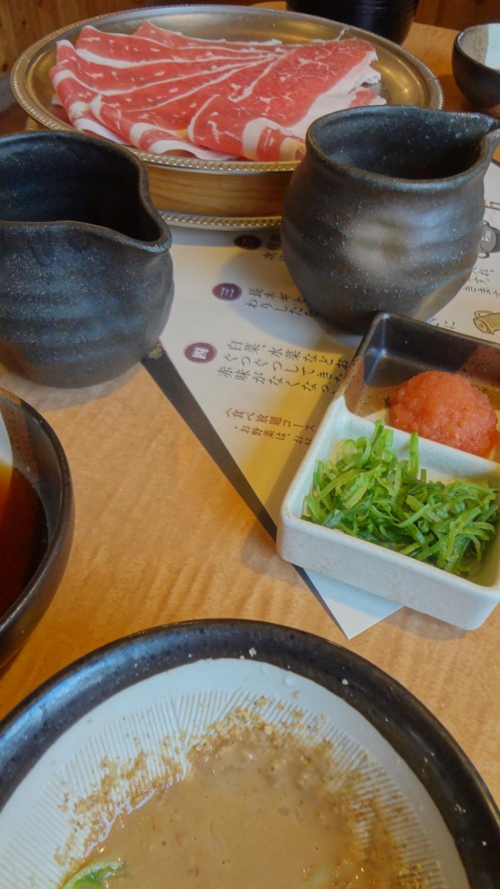 There are a variety of sauces to choose from--I like the goma (seseme) best