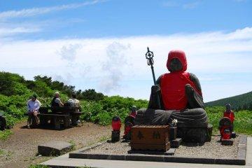 The large Jizo statue on Mount Jizo, one of the peaks of Mount Zao.