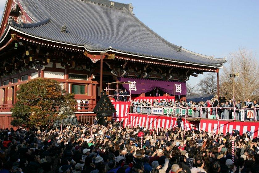 setsubun at ikegami honmonji 2020