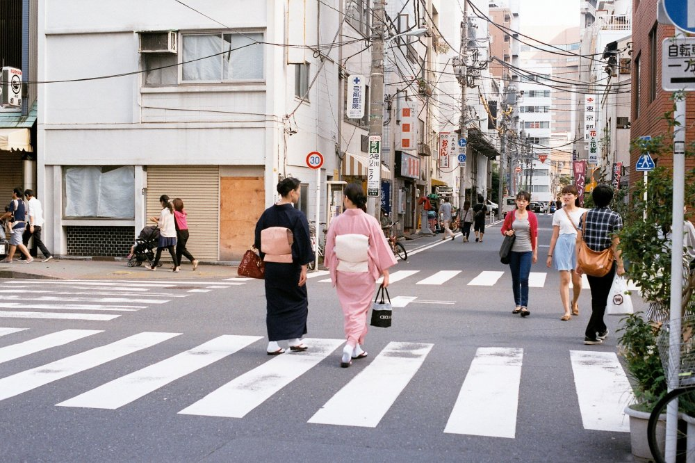 This negative  was shot in the streets of Japan on 35mm film.