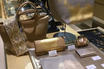 Gold bags, wallets, clutches.