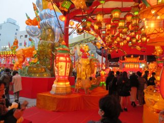Colorful Lanterns in the pavilion