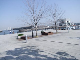 A view of the bay, and Osanbashi Pier in the middle