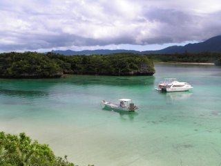 The emerald-green waters are absolutely breathtaking