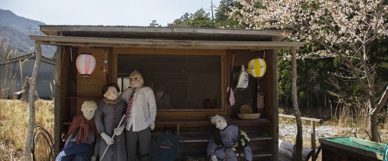 These scarecrows greet you upon arrival — Donald Trump is one of them.