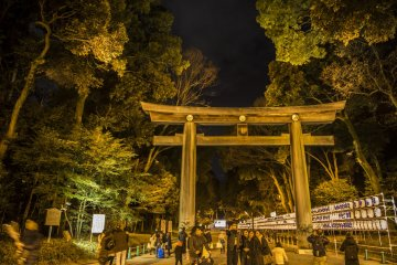 The only time you can catch Meiji Shrine after dark is probably New Year's Eve, when people head there for their prayers