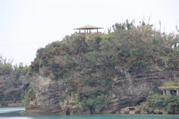The observatory as seen from the bridge to nearyby Yakena Island; the main viewing area is on the upper left above the shoreline viewing area on the lower right