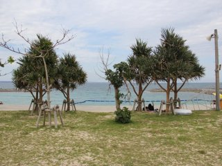 Camping along the grass above the beach is available by reservation in advance only