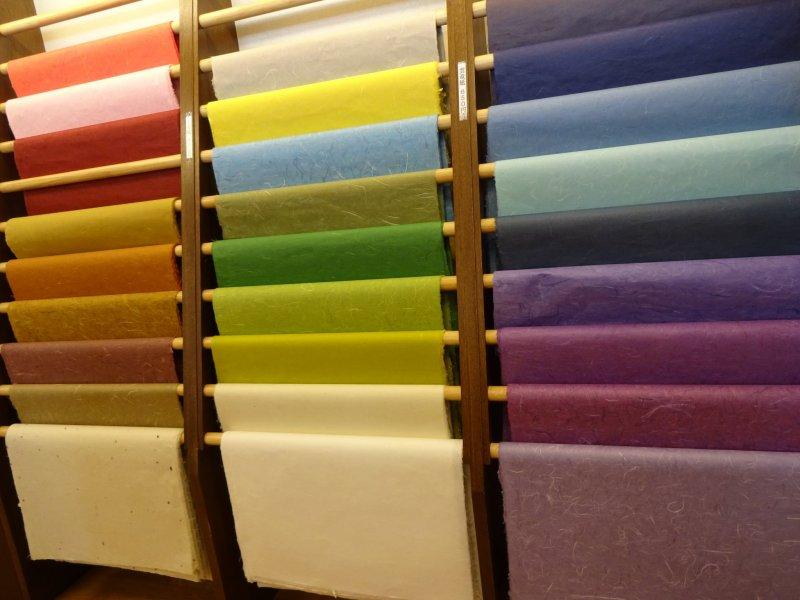 Colourful sheets of washi