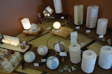 Lamp shades made of washi
