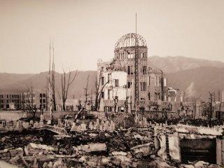 รูปโดมปรมาณูหลังจากการระเบิด ที่พิพิธภัณฑ์อนุสรณ์สันติภาพ