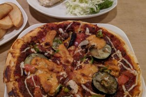 The eggplant topped pizza will have you planning a return visit.