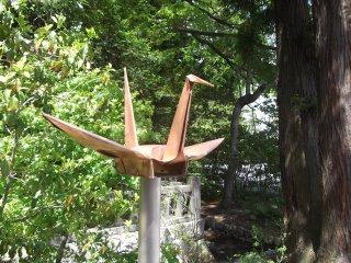A sculpted origami crane