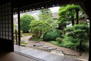 A view of the front garden as seen from inside one of the traditional tatami rooms