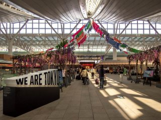 Part of the international terminal is a colorful marketplace featuring many traditional decorations