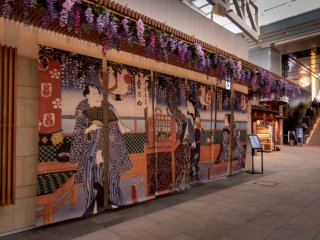 Within 'Edo-Komachi' you will find many shops and restaurants beautifully decorate in colorful woodblock prints