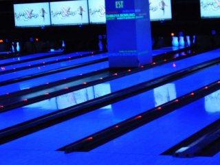The UV lit bowling alley