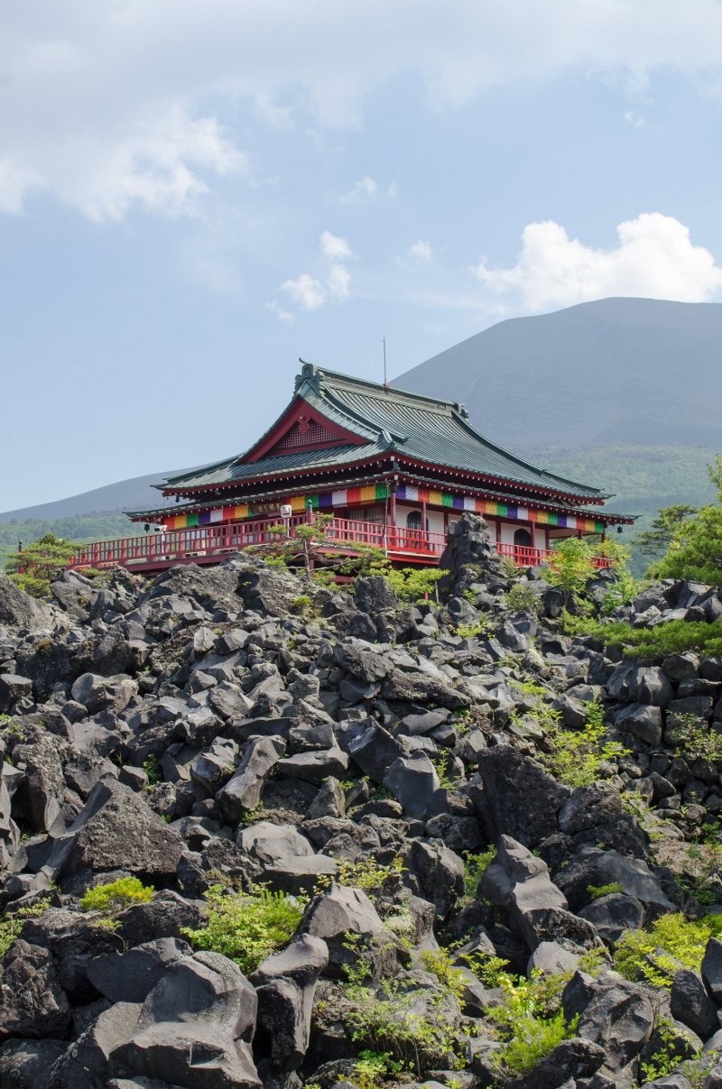 Temple and Mount Asama in the background