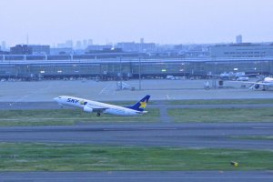 Skymark Airlines takes off from Haneda Airport