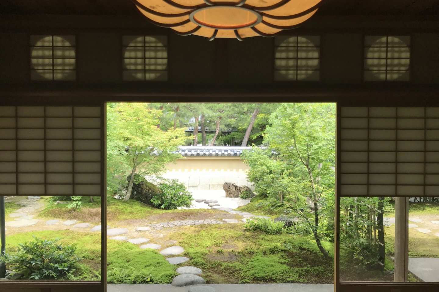 From the inside of the Juryu-an Teahouse, looking out