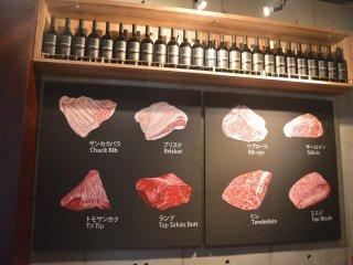 La décoration : des photos montrant les différentes pièces de boeuf wagyu