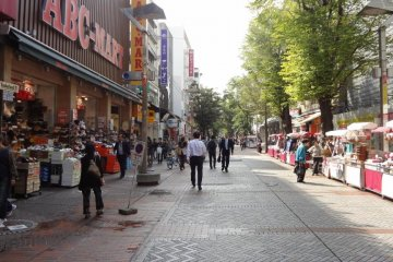 Strolling along the Isezaki-cho Mall, on the way to Yurindo.