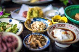 Food platters, a healthy spread in Okinawa