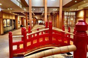 Bridges, stones and bamboo create a garden atmosphere