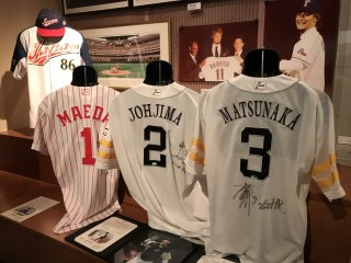 The popularity of baseball in Japan is emphasised in the sporting exhibition room