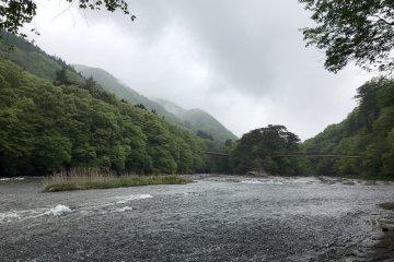 Bridge over river at Fukiware Falls