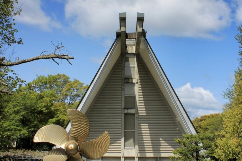 The Omishima Maritime Museum with its big propeller