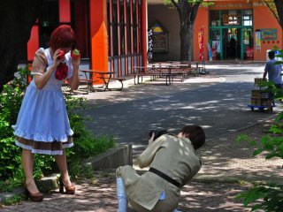 Cosplayers taking turns to photograph each other