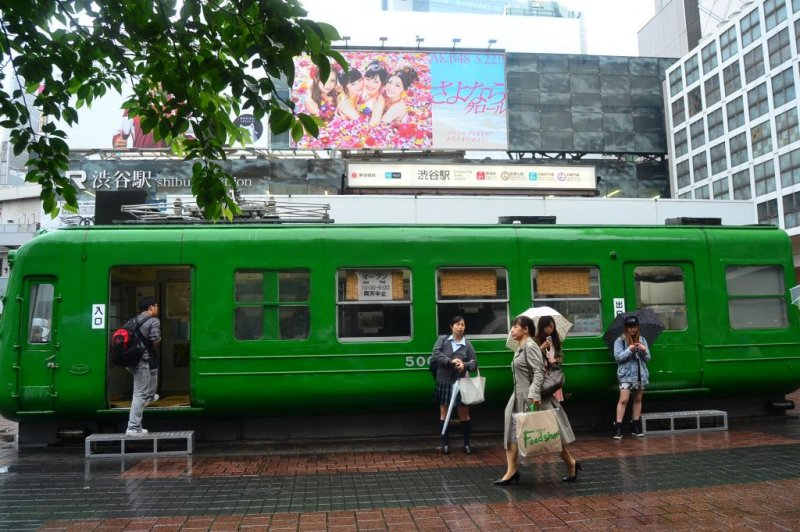 "This first Tokyo Kokyu train type 5000 was manufactured in 1954 and has been on public display since 2006. People refer to it locally as the ""green frog""."