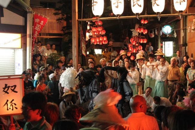 Parade through the village featuring drums, flute players, dancing and an age-old Japanese folk pantomime.